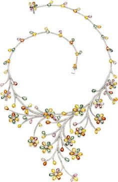 Sapphire, Diamond, White Gold Necklace The necklace features pear-shaped green, yellow, orange, pink and purple sapphires weighing a total of 50.58 carats, enhanced by full-cut diamonds weighing a total of 8.24 carats, set in 18k white gold. by hester