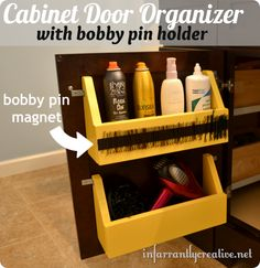 DIY Home Projects | Organize your bathroom with this cabinet door organizer that even has a magnetic strip for bobby pins!