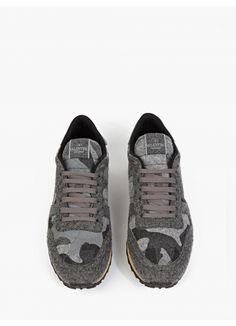 Grey Felt Camouflage Sneakers
