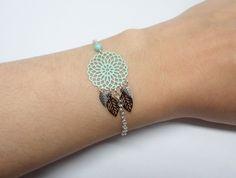 Bracelet estampes rosace feuilles vert d'eau turquoise noir argente