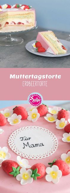 Erdbeertorte mit Holunderblüten- und Minzcreme unter einer Erdbeerfondantdecke – sehr erfrischend.