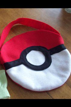 Pokemon Poke-ball treat bag made with felt.