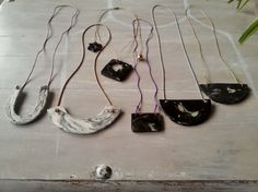 THIS IS THE MARBLE SERIES necklaces N 2  very impressive handmade black marble effect necklaces made with clay  these necklace have been made with
