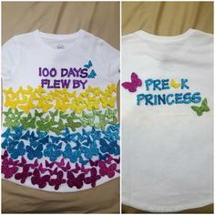 100 Days of School Tshirt Foamies purchased at Hobby Lobby, I like to add something cute on the back of my kids shirts! 100 Days FLEW By 100th Day Of School Crafts, 100 Day Of School Project, School Projects, 100 Days Of School Project Kindergartens, School Ideas, Hobby Lobby, Kindergarten Shirts, Kindergarten Projects, Diy Kids Shirts