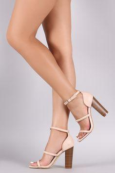 Liliana Triple Straps Open Toe Chunky Heel