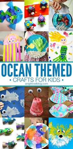 Ocean Themed Crafts for Kids - great activities for Spring break! Looking for fun activities for your kids this Summer? Check out these Ocean Themed Crafts for Kids! Daycare Crafts, Toddler Crafts, Preschool Crafts, Fun Crafts, Kids Daycare, Water Crafts, Children's Arts And Crafts, Water Themed Crafts, Cool Kids Crafts