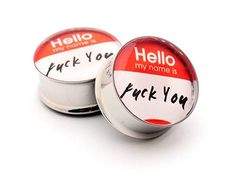 Hello My Name Is Picture Plugs - 7/8 Inch - 22mm - Sold As a Pair