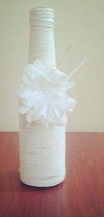 Garrafa Decorada de Barbante - Casamentos #garrafadecorada #festa #casamento