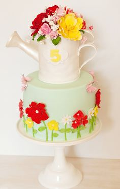 flower birthday party cake - Jordan is already planning her Gorgeous Cakes, Pretty Cakes, Cute Cakes, Amazing Cakes, Flower Pot Cake, Cake Flowers, Garden Cakes, Novelty Cakes, Creative Cakes