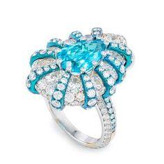 Arunashi 18K White Gold and Titanium Paraiba Pear Shape Ring