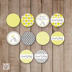 WELCOME! It is time to celebrate and decorate your party with these lovely printable small candy labels. They are perfect as party favors or candy buffet. Ideal for baby boy shower.    All the designs shown are included in the sale and they will fit the bottom of small candy. Design is mom and baby elephant, polka dots, chevron, yellow and grey colors.    Print as many as you need at home or at an office supplies store. - What you will get -  A digital image file 8.5x11 (PDF) with approx 100…