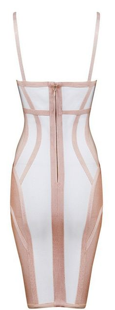 'OLANI' NUDE AND WHITE DEEP V BANDAGE DRESS