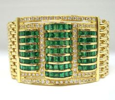 Estate 7ct Emerald & 3ct Diamond Bracelet in Solid 18k Gold