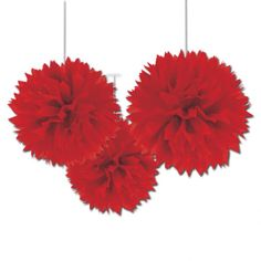 £7.50 for 40cm x 3-x-Large-Red-paper-Fluffy-hanging-decorations-tissue-Pom-Poms