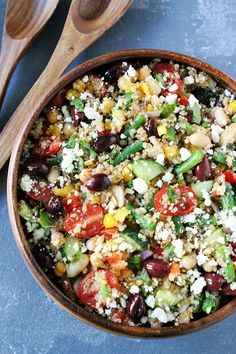 Mediterranean Three Bean Quinoa Salad Recipe on twopeasandtheirpod.com This protein-packed quinoa salad is full of flavor and great served as a main dish or side dish.