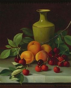 Andrew John Henry Way  Red Cherries, Apricots, and Green Vase  19th century
