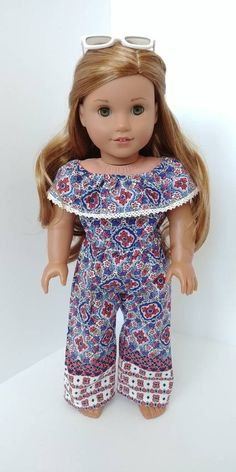 """For 18/"""" American Girl Doll Clothes Blue with Pink Bow Bathing Suit"""