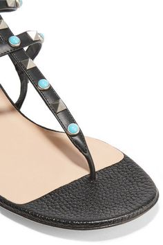 Valentino - Rockstud Leather Sandals - Black - IT38.5