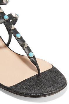 Valentino - Rockstud Leather Sandals - Black - IT38.5