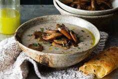 Cream of mushroom soup with tarragon oil