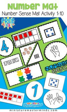 Free Printable Number Sense Number Mats From 1 to 10 Preschool and Kindergarten Math Centers Number Sense Kindergarten, Kindergarten Lesson Plans, Math Classroom, Kindergarten Activities, Preschool Activities, Math Math, Number Sense Activities, Math Games, Montessori Preschool