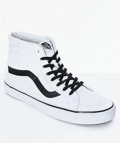 fa0cebdb55 Vans Sk8-Hi Reissue True White   Black Skate Shoes