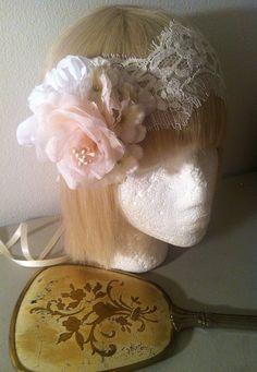 The Natasha-1920s Floral Cluster Ivory Lace Bandeau Eyelash Veil-Rose Headpiece Vintage Bohemian Bride Wedding-Romantic  Downton Abbey.