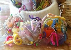 FOR the BIRDS:  make your own nesting balls out of wire, lint, yarn scraps; then hang in a tree