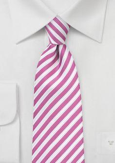 Herrenkrawatte Business-Streifen dunkelrosa perlweiß