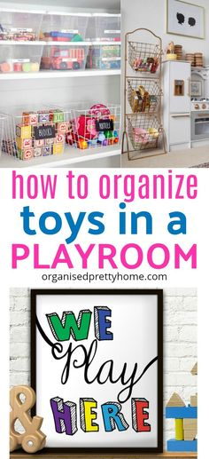 Is the mess and clutter of the kids' toys driving you crazy? Here's 10 organizing ideas. Storage solution. Best toy organization ideas for kids. Children 's playroom, living room or bedroom. Shelves.  Baskets. Declutter #playroom #playroomdecor #playroomideas #toyorganization #playroomstorage #kidsrooms #kidsbedroom #kidstoystorage #toystorageideas #declutter #toystorage