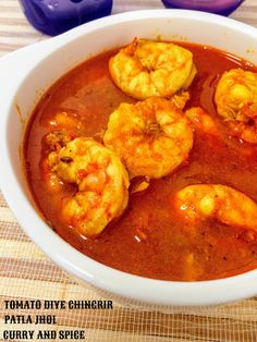 CURRY AND SPICE: TOMATO DIYE CHINGRIR PATLA JHOL