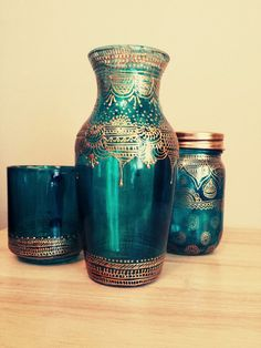 Hand Painted Henna inspired vase with gold accents by TheArtStreet, $40.00