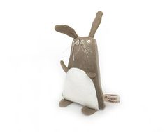 Poosac - hand-painted, hand-embroidered brown bunny rabbit art doll