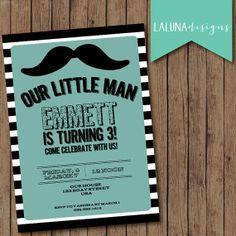 Mustache Birthday Invitation, Mustache Invite, Mustache Bash, Stripe Invite