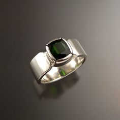 Green Tourmaline Ring Cushion cut Sterling Silver Emerald Substitute Mans ring Size 10 by stonefeverjewelry on Etsy https://www.etsy.com/listing/231244208/green-tourmaline-ring-cushion-cut