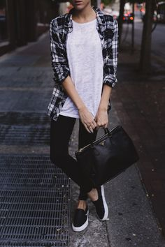 Oversized plaid, loose tee, skinnies, slip ons, great handbag