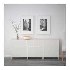 BESTÅ Förvaring med lådor - vitlaserad ekeffekt/Lappviken ljusgrå, lådskena, mjukstängande - IKEA