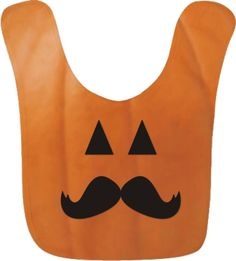 Your little hipster will be the fancy of the Thanksgiving or Halloween table in this cute Jack O'Lantern mustache baby bib.  #hipster #halloweencostumes