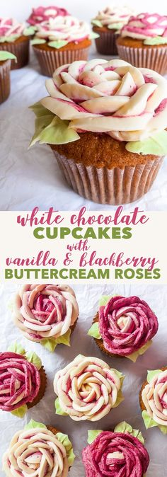 White Chocolate Cupcakes with Buttercream Roses - The Loopy WhiskThanks pintermoni for this post.White Chocolate Cupcakes with Vanilla Blackberry Buttercream Roses {soy nut free, gluten free option} - These white chocolate cupcakes with v# beltane Mini Cakes, Cupcake Cakes, Rose Cupcake, Cupcake Toppers, Just Desserts, Delicious Desserts, Baking Desserts, Cupcake Recipes, Dessert Recipes