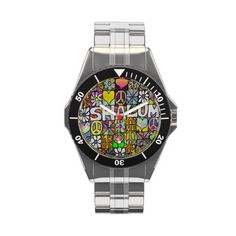 #Judaica Retro 60s #Psychedelic #Shalom LOVE Wrist Watch by Lee Hiller