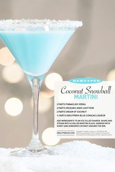 One of our favorite winter cocktail recipes! The Coconut Snowball Martini. 2 parts Pinnacle Vodka, 2 parts Cruzan® Aged Light Rum, 2 parts Cream of Coconut, 1/4 parts DeKuyper® Blue Curacao Liqueur. Shake and stain into a martini glass. Garnish with honey and coconut around the rum.