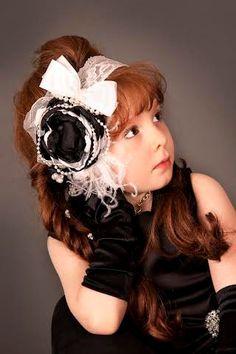 Piper Modeling - Luxe Black and White Flower Headband Girl by lepetitejardin