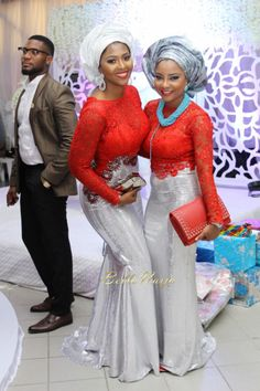 BN Celebrity Weddings: Nollywood Actor OC Ukeje & Ibukun Togonu's Lovely Wedding! Silver and red dress African Dresses For Women, African Print Dresses, African Attire, African Wear, African Women, African Prints, African Outfits, African Inspired Fashion, Africa Fashion