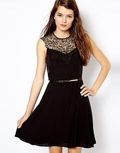 $109, Lace Neck Skater Dress Black by Oasis. Sold by Asos. Click for more info: http://lookastic.com/women/shop_items/88249/redirect