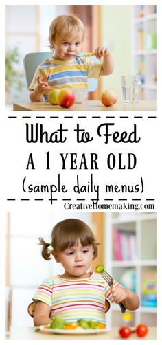 Sample daily menus (breakfast, lunch, snack, and dinner menu) for a 1 year old, including an easy recipe for homemade cream of vegetable soup. baby foods for 1 year old Menu for Baby 1 Year Old Snacks, 1 Year Old Meals, 1 Year Old Food, 1 Year Old Meal Ideas, 1 Year Old Breakfast, Baby Breakfast, Breakfast Ideas, Healthy Toddler Meals, Toddler Lunches