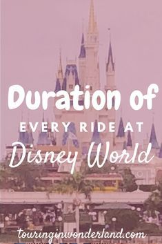 Walt Disney World Ride Lengths - Touring in Wonderland. This list will show you all the ride durations of every attraction at Walt Disney World. Whether you are looking for information on Magic Kingdom, Animal Kingdom, Hollywood Studios, or Epcot you will find all Disney World ride lengths times here.