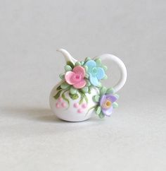 Miniature Petite Pastel Blossoms Pitcher OOAK by C. Rohal