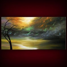 art painting ORIGINAL art abstract painting retro mid by mattsart, $375.00