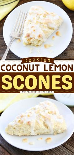 Toasted Coconut Lemon Scones start with tender, flaky coconut lemon scones with a sweet lemon glaze and toasted coconut topping. These best scones are great on-the-go breakfast or back-to-school lunch ideas! Lemon Scones, Delicious Breakfast Recipes, Toasted Coconut, Clean Eating Recipes, Brunch, Tasty, School Lunch, Lunch Ideas, Breakfast Ideas