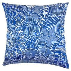 "Eye-catching indoor/outdoor pillow with a tribal motif in French blue and white.   Product: PillowConstruction Material: Polyester cover and fillColor: French blue and whiteFeatures:  Suitable for indoor and outdoor useInsert includedZipper closure Dimensions: 18"" x 18"""